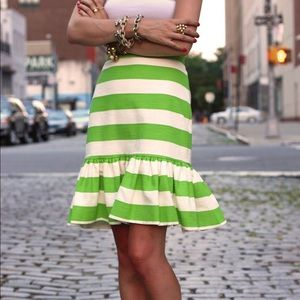 Kate Spade Senorita Skirt Green White Stripe NWT 0